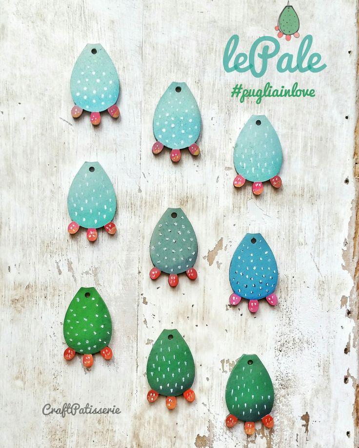 Prickly pear leaf wood charm by CraftPatisserie handmade