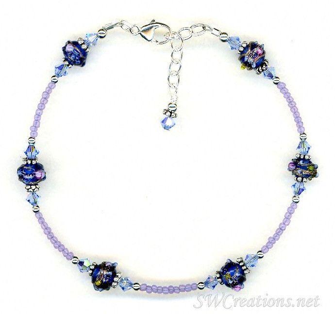 Sapphire Crystal Cobalt Beaded Anklet