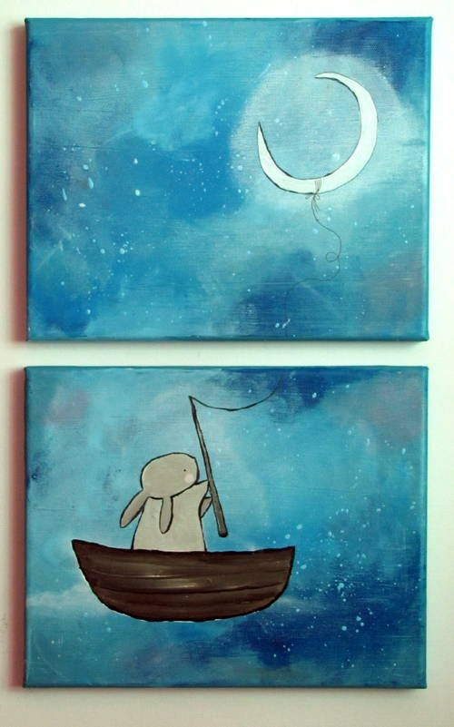 Whimsical Diptych Paintings - MORE ART, LESS CRAFT