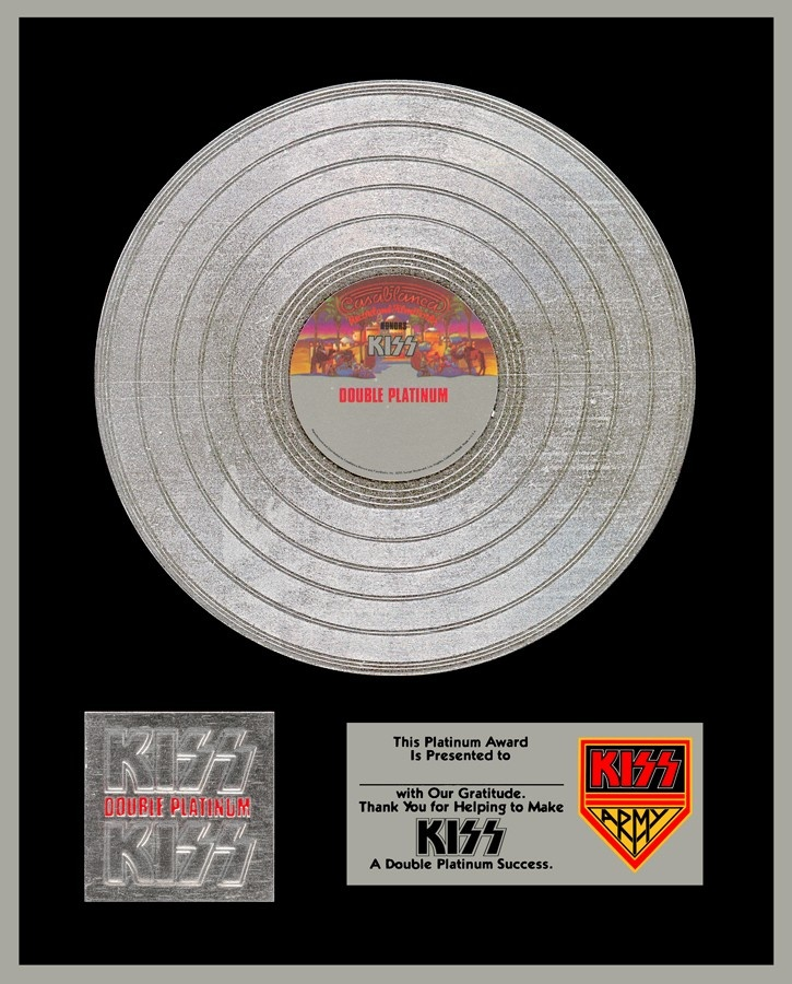 """The platinum record """"award"""" insert from Kiss Double Platinum"""