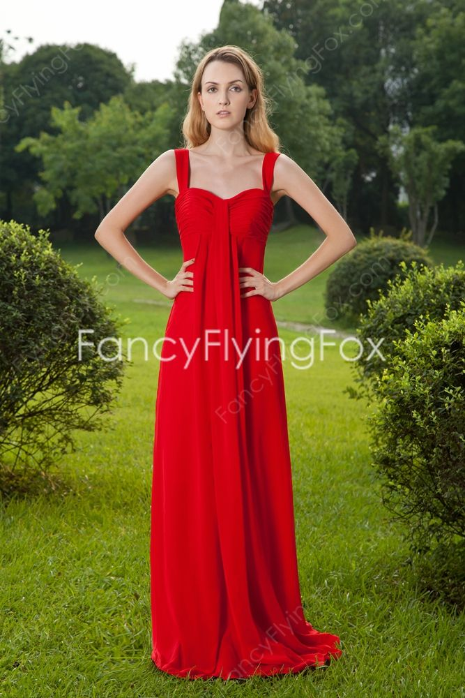 Modest Double Straps Empire Floor Length Red Chiffon Maternity Prom Dresses With Long Sleeves Jacket at fancyflyingfox.com