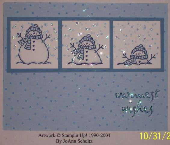 I'm melting!!! -Tags and More Snowman stamp, Itty Bitty Backgrounds stamp, Dazzling Diamonds Glitter, Aquapainter, Night of Navy Marker. Masking technique.