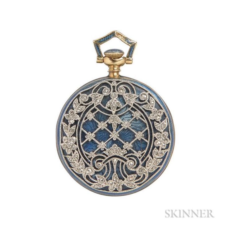 Edwardian 18kt Gold, Enamel, and Diamond Open-face Pendant Watch, Tiffany & Co., the engraved goldtone metal dial with arabic - Price Estimate: $800 - $1200