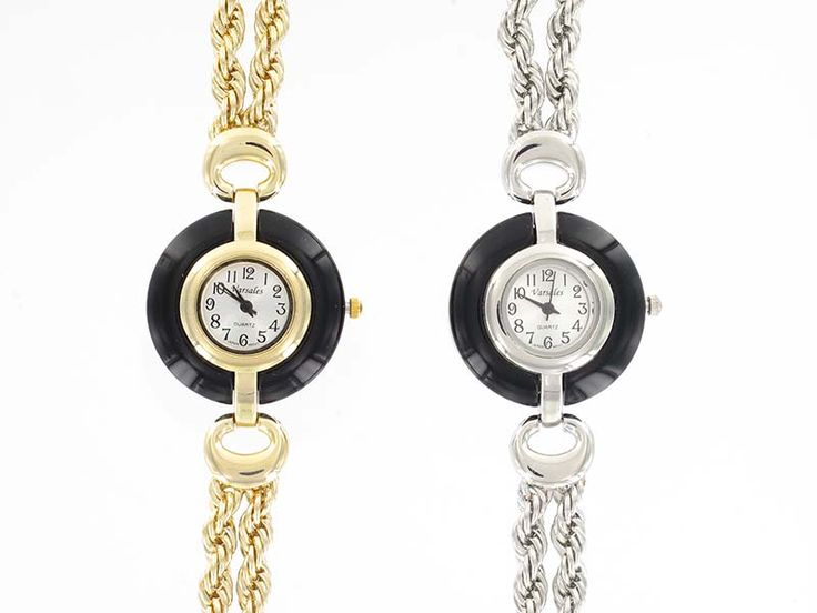 Double Chain Watch with Black in Gold and Silver - Two rows of chain do up with lobster clasp with extender.  Available in Gold and Silver.