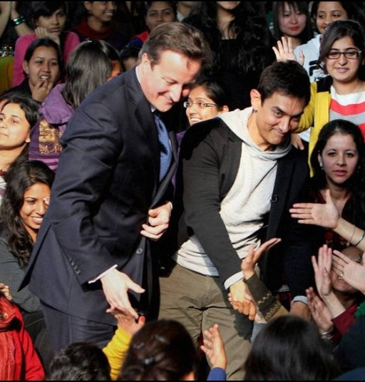 Check out: Aamir Khan and British PM David Cameron visit college campus    AAMIR WITH BRITISH PM  British Prime Minister David Cameron and Bollywood superstar Aamir Khan on Tuesday visited Janki Devi Memorial College in New Delhi and met the girl students...