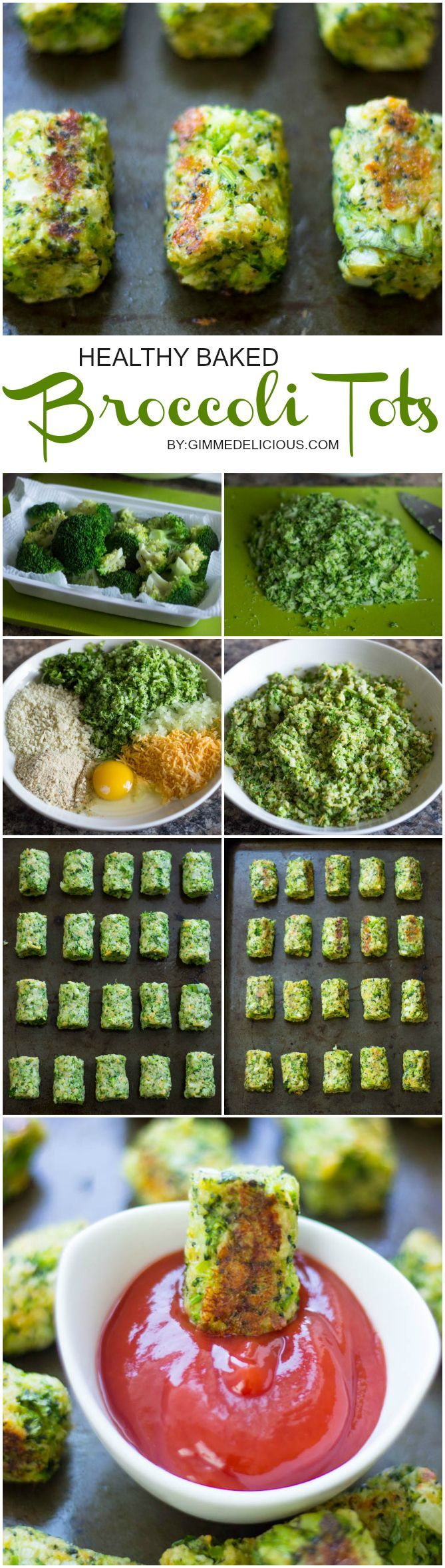 Healthy Tater Tots - DIY Baked Broccoli Tater Tots recipes (vegetables, make-ahead, low calarie)  #GimmeDelicious