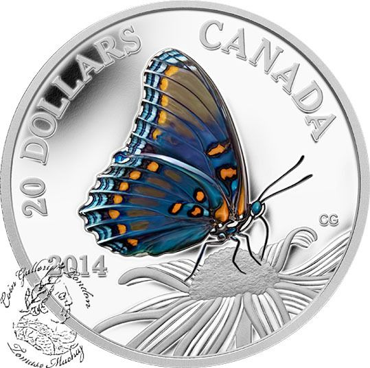 Coin Gallery London Store - Canada: 2014 $20 Butterflies of Canada: Red-Spotted Purple Silver Coin, $99.95