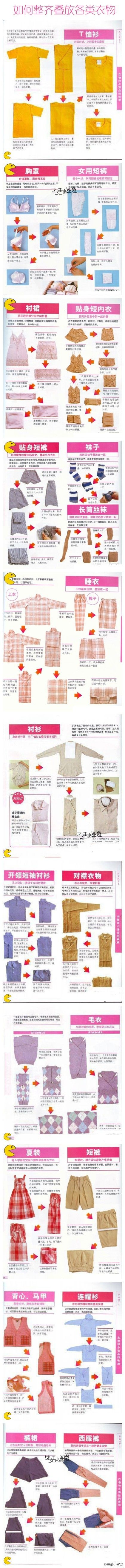 how to fold shirts, pants, etc. to fit your cupboard. Sorry for those who don't read Japanese in their spare time(myself included)