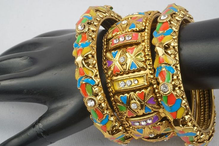 Tribal Antique Style Indian Bangles and Kada Set Ethnic Wedding Jewelry 2.4/2.6 #Handmade #Bangle