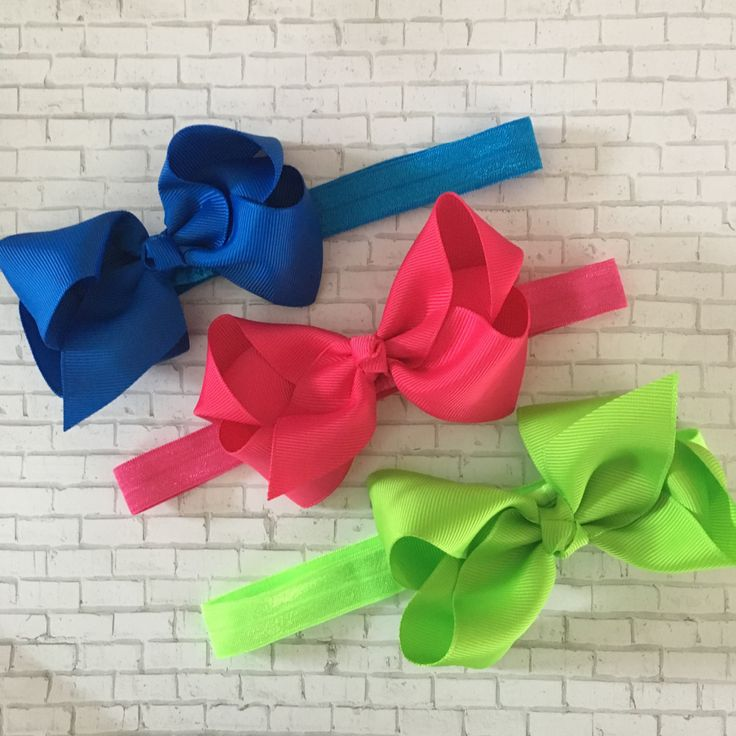 "3 Bow Headbands, Hot Pink Headband, Blue Bow, Green Bow, 4"" Hair Bow Headband, Baby Bow Headbands, Girls, Toddlers, Boutique Bow Headband by PlayAllDayDesigns on Etsy"