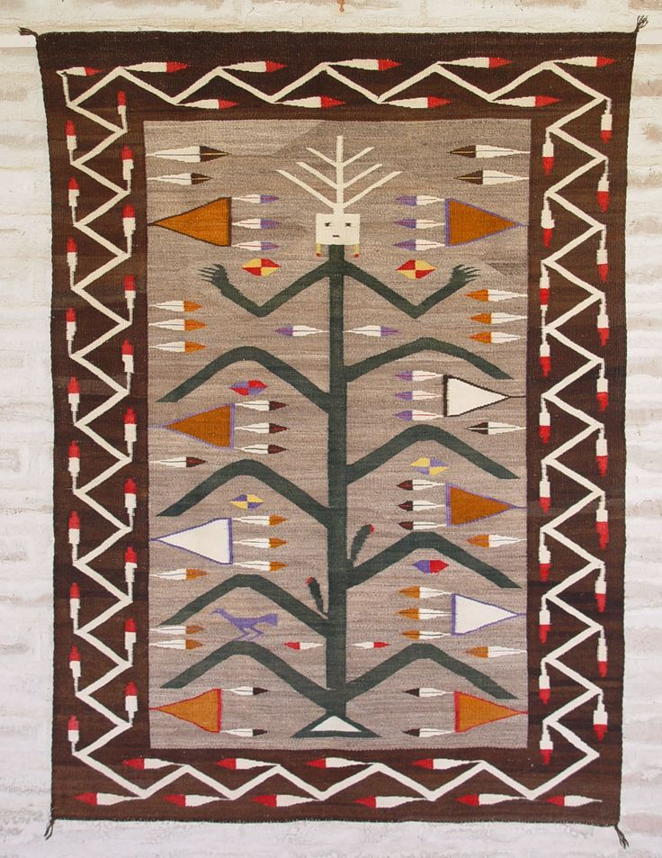 Antique Native American Yei Rug Navajo : Corn Plant Yei Circa 1925 50u2033 X 69