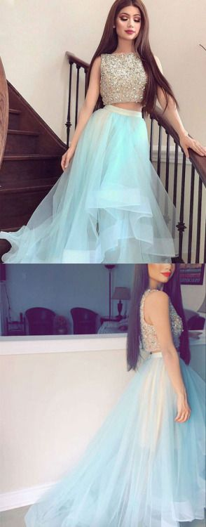 Unique two pieces tulle long prom dress, sequin two pieces evening dress for teens, cute homecoming dress