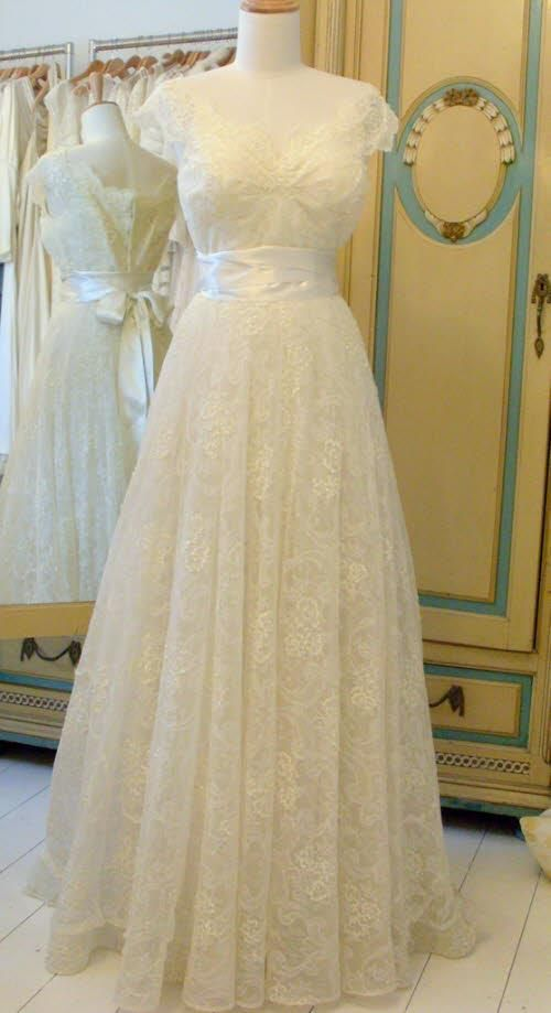 1950s Chantilly lace wedding dress with sequins by William Cahill.