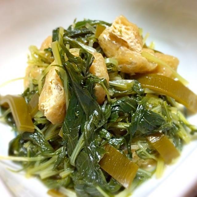 水菜消化メニュー。 揚げさんと昆布で煮付けてみました。 沢山の水菜も煮ると沢山食べれますね。 - 96件のもぐもぐ - 水菜の煮物 by mottomatu