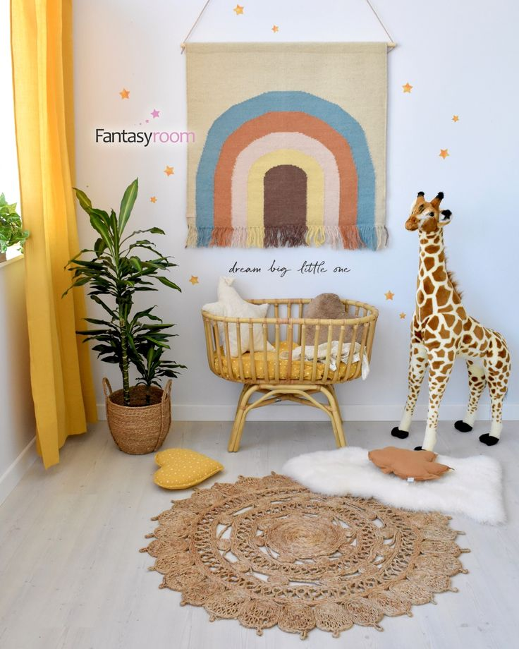 Kinder Wandteppich 'Regenbogen' beige/bunt ca. 100x115cm
