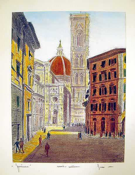 Artist: Bela Sziklay; Description: One of a set of four original, artist-signed, water-colored etchings of three Italian cities. Pictured are scenes in Rome, Venice, and Florence.