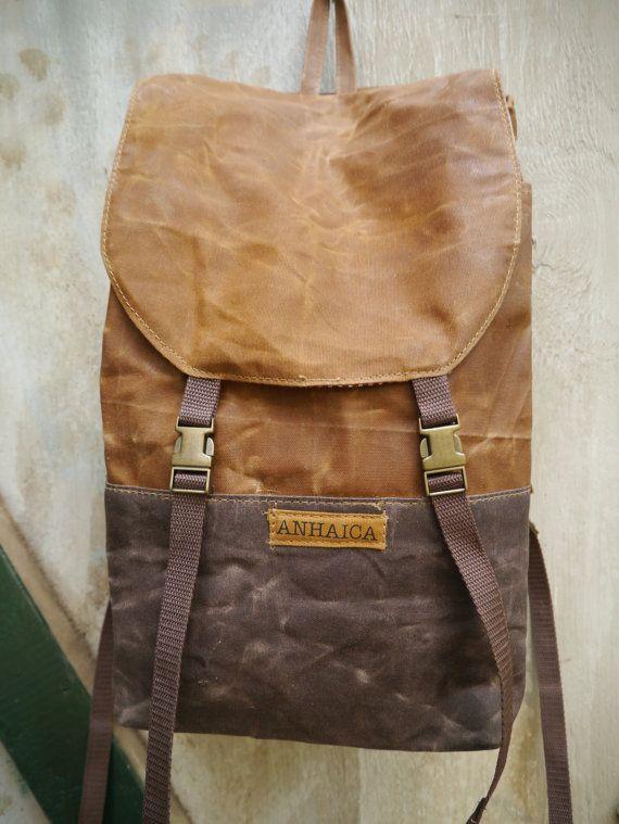 Waxed Canvas Backpack, Brown Weekender Bag