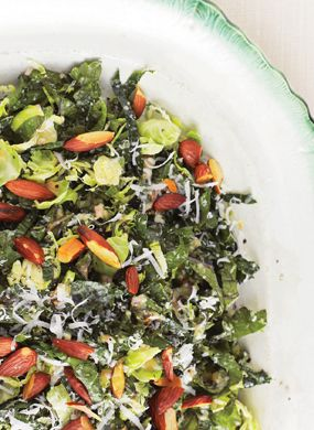 Kale and Brussel Sprout salad - mom added pomegranate seeds to it! http://www.epicurious.com/recipes/food/views/Kale-Brussels-Sprout-Salad-368295