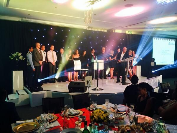 Tweet from Ogilvy PR: The campaign of the year finalists on stage with @AshrafGarda including @KFCSA team