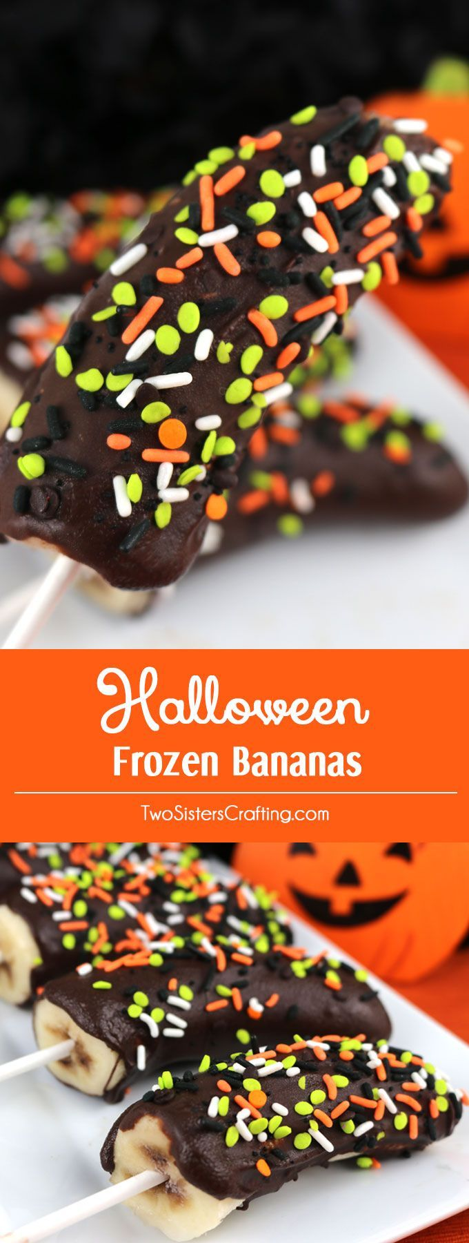 Halloween Frozen Bananas - easy to make Halloween homemade chocolate covered frozen bananas for a Halloween Party or a family movie night.  Call them Frozen Bananas or call them Monkey Tails but this delicious frozen treat will be a great Halloween dessert.  Pin this yummy Halloween treat for later and follow us for more Halloween Food ideas.