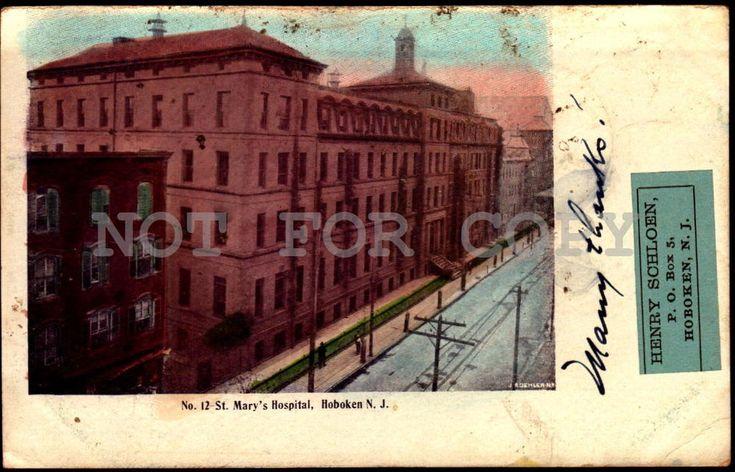 St. Mary's Hospital Hoboken NJ New Jersey vintage original ca1900 postcard