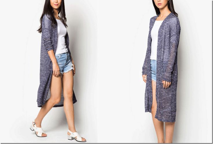cool grey melange long cardigan