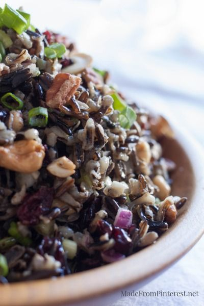 Cold Rice Salad for Fall-Delicious. Make Extra! Love nuts, wild rice, cranberry and orange together.