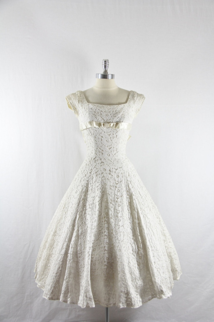 1950's Vintage Wedding Dress - White  Lace and Satin EMMA DOMB Wedding Gown. $280.00, via Etsy.