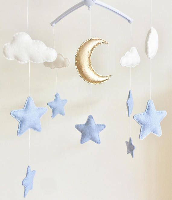 Moon & Stars Cot Mobile, Cloud Moon Stars Baby Mobile, Moon Stars Nursery, Felt Cloud Nursery Mobile, Nursery Decor, Musical Cot Mobile  This beautiful cot mobile would make a lovely addition to a babies nursery. This design is ideal for a neutral nursery - mix it up with the