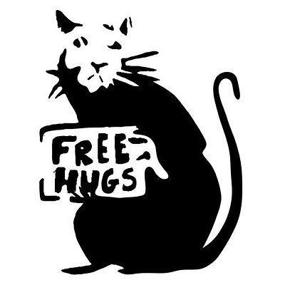Banksy Rat Free Hugs Stencil Graffiti Print Spray Fat Rap
