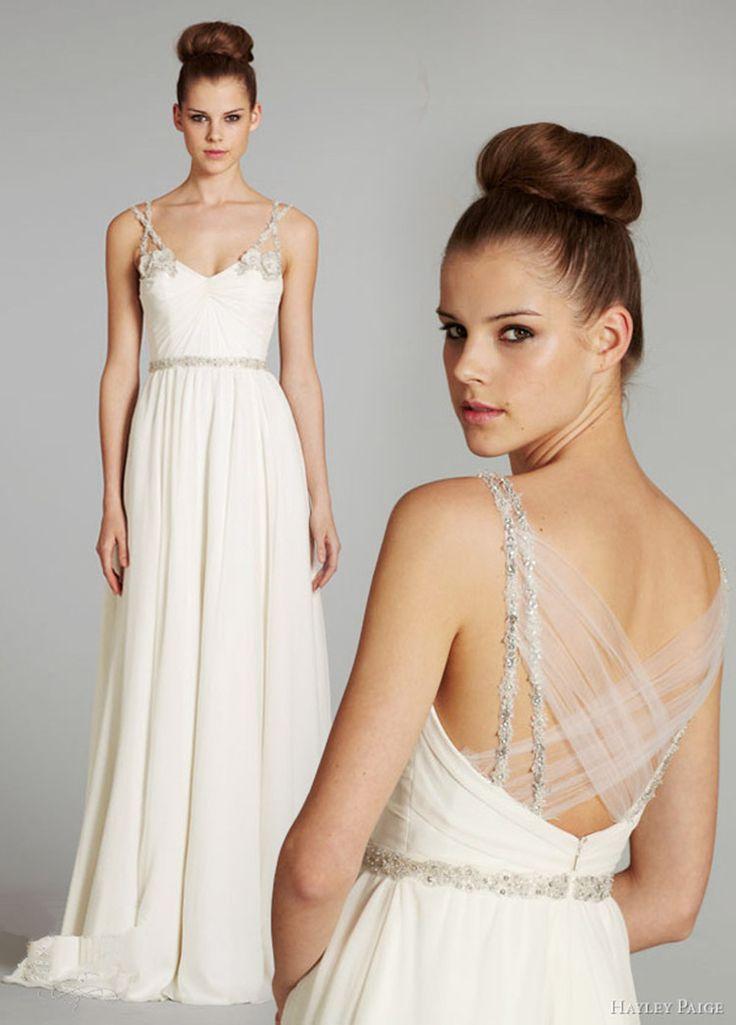 Простой белый шифон свадебное платье 2015 сексуальная спагетти из бисера свадебные платья из органзы свадебные платья свадебные платья Noiva эм ренда