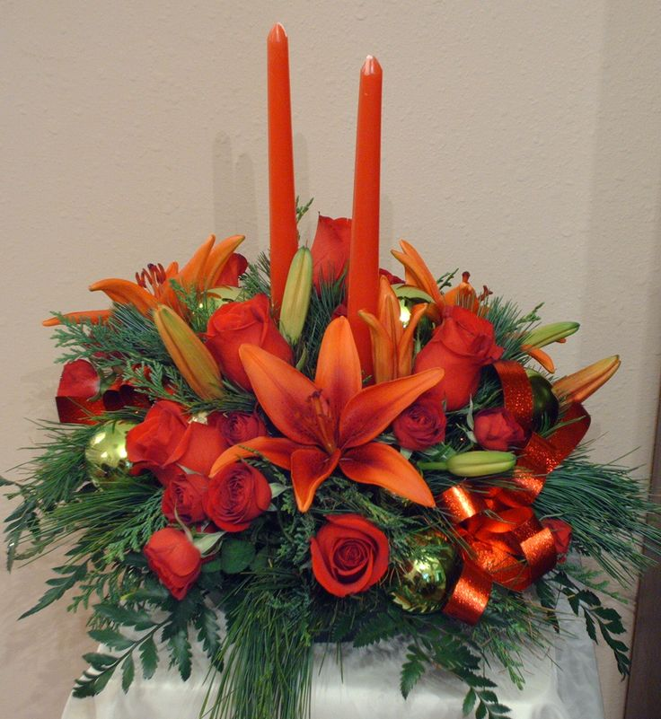 Holiday Centerpieces in traditional red and green