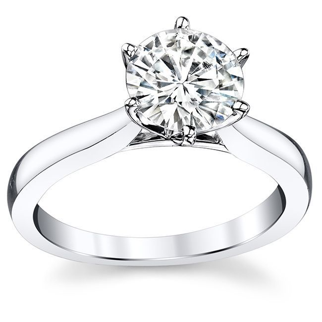 Charles and Colvard 14k Gold 1 7/8ct Round Forever Brilliant Moissanite Solitaire Ring (White Gold - Size 8)