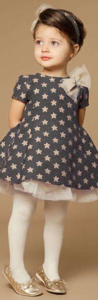 LOREDANA Girls Designer Grey & Gold Stars Party Dress