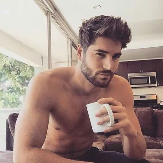 The hair, the eyes, the beard and the coffee. Oh, Nick...