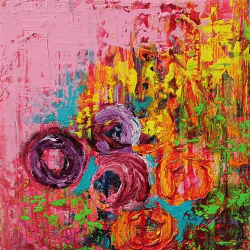 POP by Mia Henry. This work caught my eye because of the contrasting bright colors. Also the layering of the color upon color adds great texture with the paint. Even as a print it would still be very interesting.