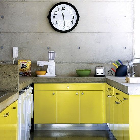 SOUTH AFRICA: Yellow + Concrete Kitchen. 7/12/2012 via House to Home