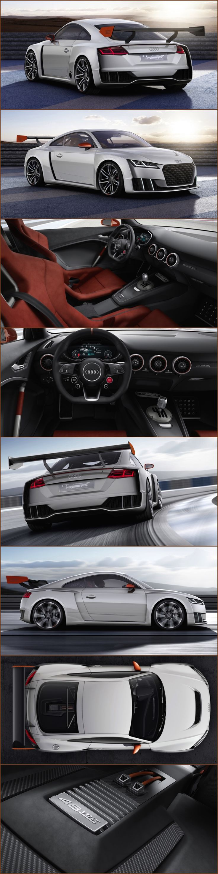 The 600PS Audi TT Concept shows a taste of the future of turbo power. First application of electric biturbo propulsion in a TFSI engine and 48v system power. 600PS and 650Nm, 0-62mph in 3.6 seconds and 192mph top speed. Five-cylinder 2.5 TFSI fitted with electric bi-turbo for spontaneous response and torque boost of up to 200Nm quattro all-wheel drive, adjustable coilover suspension and manual transmission with open shift gate, 48-volt electrical system fitted. #AUDI #TT #Turbo #Conceptcars
