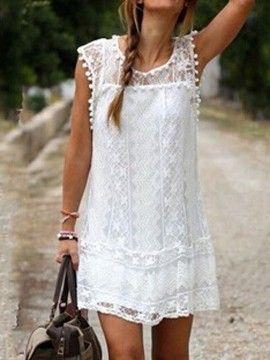 Mudança vestido branco Crochet Lace Pom Pom guarnição mangas