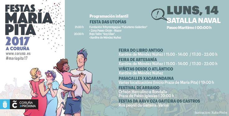 Programación de #MaríaPita17: empiezan las #FestasdosBarrios y a las 23.58 h tendrá lugar la Batalla Naval en la ensenada del #Orzán!