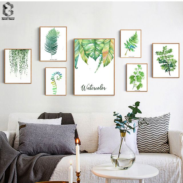 Tropical Plant Art Print Poster Nordic Green Leaf Wall Painting For Living Room Decora Living Room Decor Rustic Green Wall Decor Living Room Decor On A Budget
