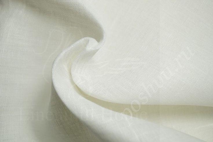 (Export) Легкая белая льняная ткань Вуаль 150 см.