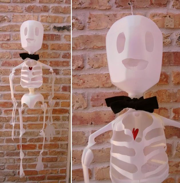 How to make a milk jug skeleton.  (instructiohs are here: http://www.thepartyanimal-blog.org/milk-jug-skeleton-fun-recycled-craft-decoration-halloween/ ) but I like the picture at this site better, and the link is at this site, too, for the instructions.