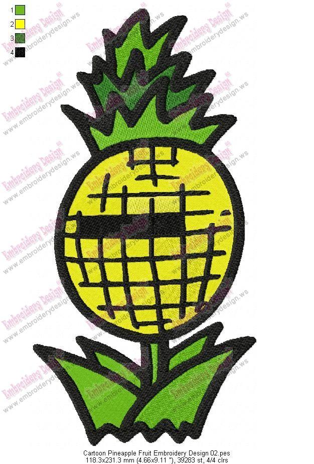 Cartoon Pineapple Fruit Embroidery Design