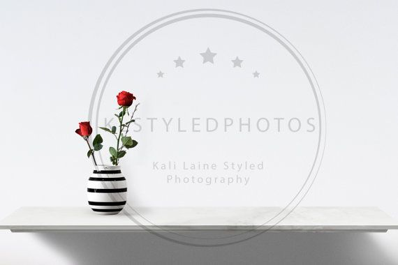 POSTER BLANK WALL Red Roses/ Shelf/ Styled Stock by KLStyledPhotos