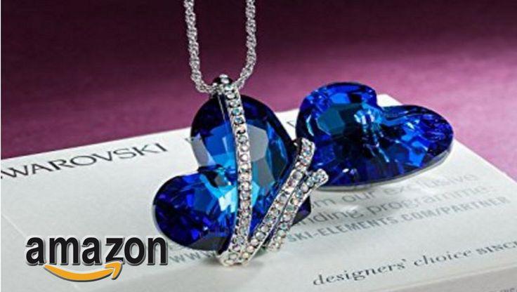 """EUR 36,99 - Pauline & Morgen """"goccia di Venere"""" Collana donna-cristallo SWAROVSKI ELEMENTS blu-colore oro bianco, 43cm"""