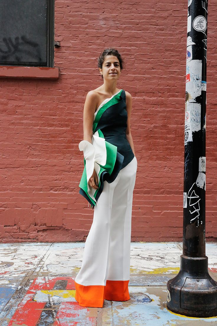 Rosie Assoulin top & Celine pants. aces. Leandra in NYC. #LeandraMedine #ManRepeller: