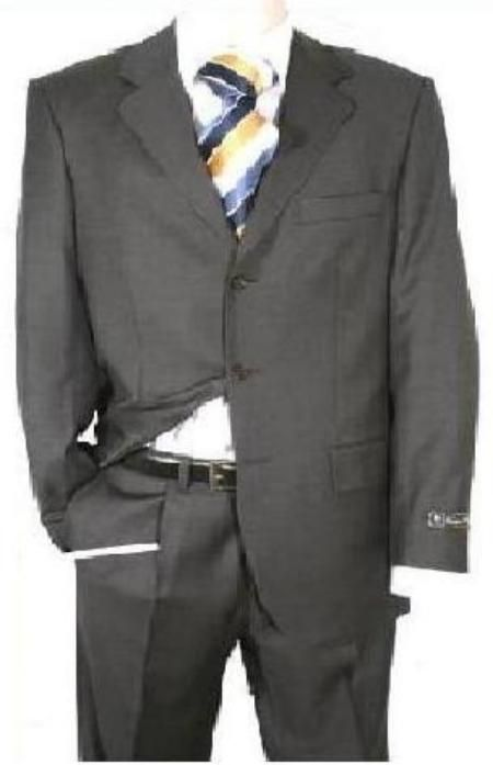 SKU#KY-93 Dark Charcoal Gray Men's Single Breasted Discount Dress 2or3or4 Button Suit $79 Mens Discount Suits By Style and Quality 3 Button Suits $79