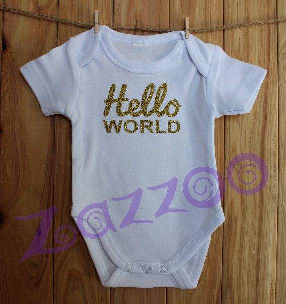 Hello World Newborn Onesie Bodysuit by Zazzoo Newborn by Zazzoo