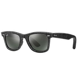 Ray Ban RB2140 Original Wayfarer Denim sunglasses – Black Denim; Black Frame / Green Classic G-15 Lens